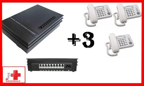 KIT CENTRALINO DIGI 2 LINEE 3 TELEFONI