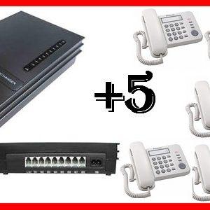 KIT CENTRALINO DIGI 2 LINEE 5 TELEFONI